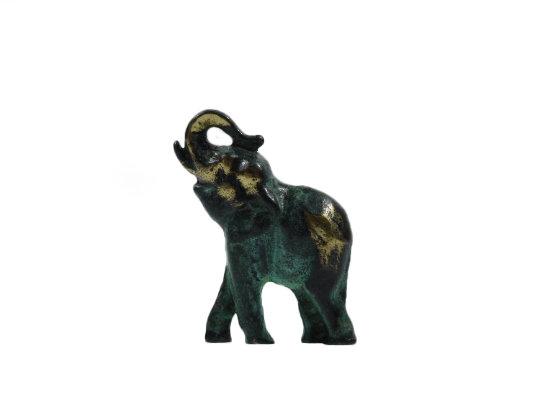 Baby Elephant Solid Bronze Greek Green-Gold Handmade Miniature