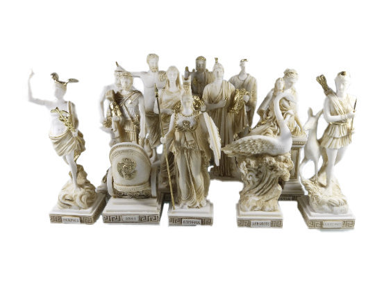 Set All The 12 Olympian Gods of Mount Olympus Gold Tone Alabaster 10.23""