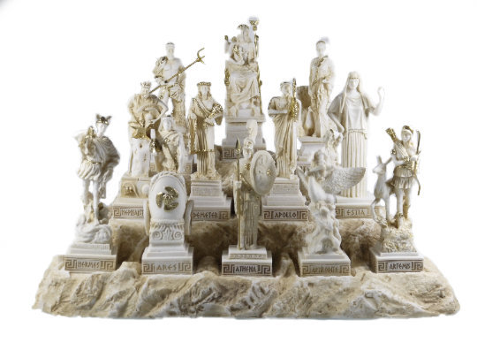 Set All The 12 Olympian Gods of Mount Olympus Gold Tone Alabaster 6.69""