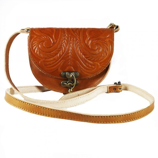 Embossed Leather Shoulder Bag Natural Tan Brown Handmade Pyrography Floral Design Cross Body Saddle Vintage Handbag