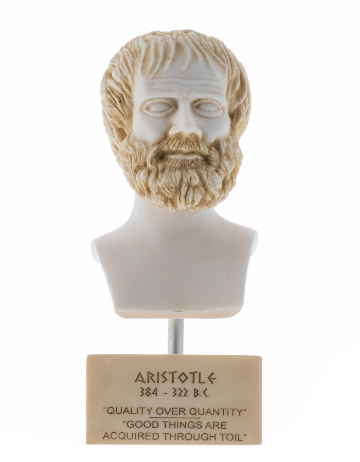 Aristotle Greek Philosopher in Ancient Greece Alabaster Statue Bust Marble Base