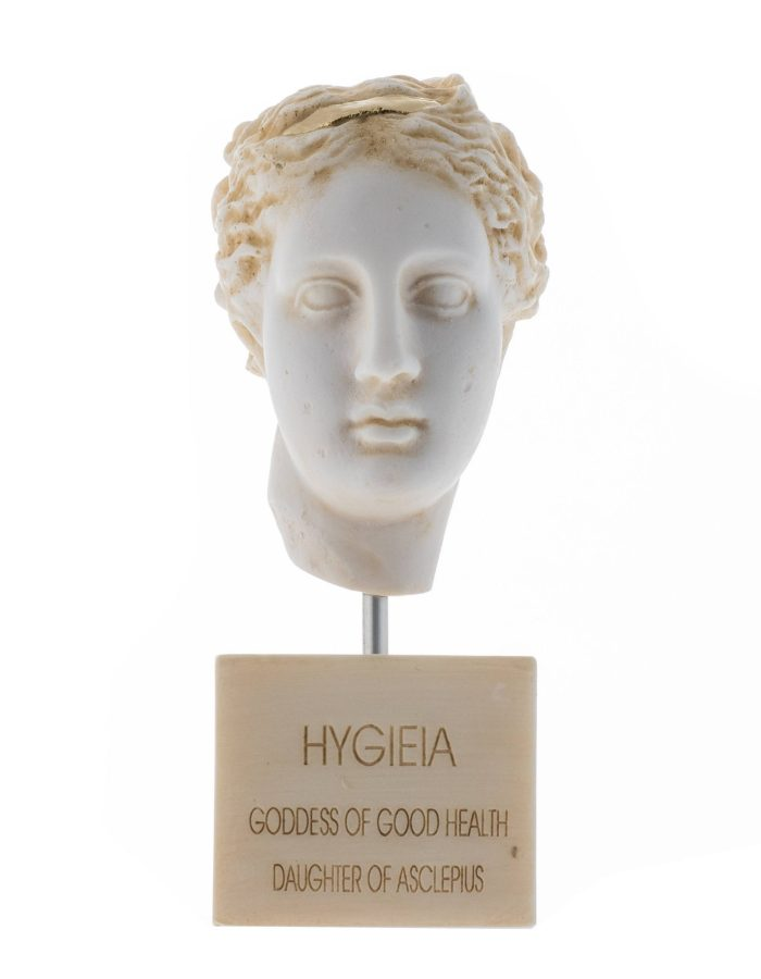 Hygeia Goddess of Good Health Cleanliness Sanitation Statue Bust Gold Tone Marble Base
