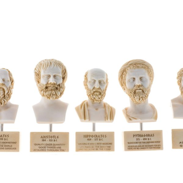 Set of Greek Philosophers Busts Socrates Aristotle Hippocrates Pythagoras Plato Alabaster Statues Gold Tone Marble Base