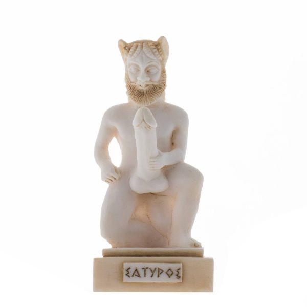 Satyr Greek Roman Mythology Penis Statue Handmade Alabaster Gold Tone Nude Male Figure 5.5″