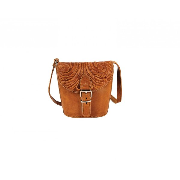 Embossed Leather Shoulder Bag Natural Tan Brown Black Handmade Pyrography Floral Design Cross Body Saddle Vintage Handbag Purse