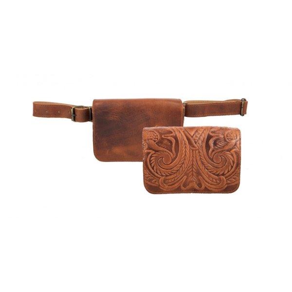 Waist Bag Embossed Leather Chest Fanny Pack Bag Vintage Brown Black Handmade Pyrography Floral Design CrossBody Saddle Vintage Handbag Purse