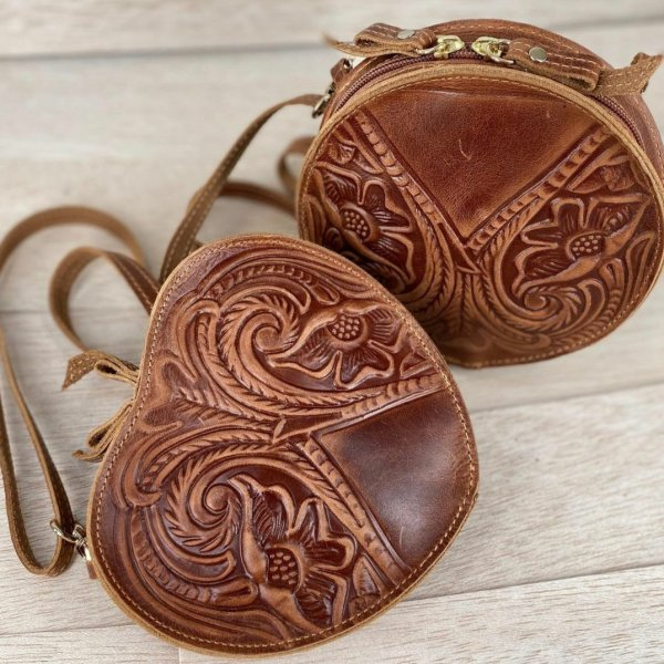 Embossed Leather Shoulder Heart Shape Bag Natural Tan Brown Handmade Pyrography Floral Design Cross Body Saddle Vintage Handbag