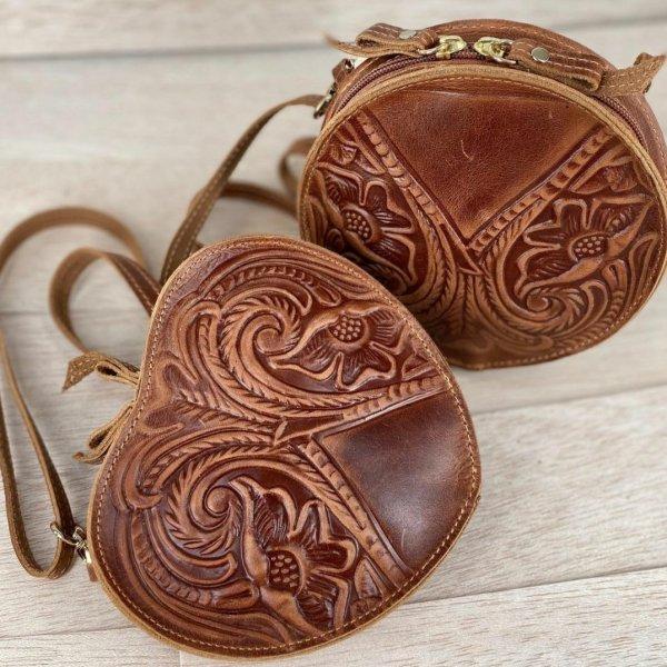 Embossed Leather Shoulder Heart Shape Bag Natural Tan Brown Black Handmade Pyrography Floral Design Cross Body Saddle Vintage Handbag Purse