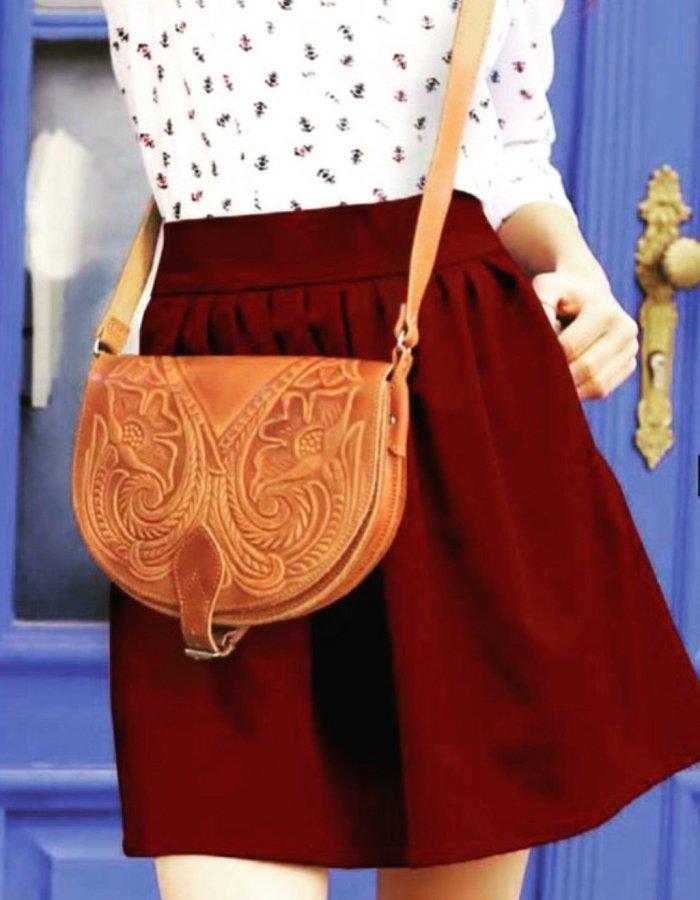 Embossed Leather Shoulder Bag Handmade Floral Pyrography Design Natural Black Dark Brown Cross Body Satchel Vintage Saddle Handbag Purse