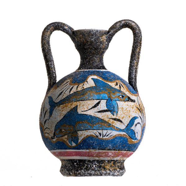 Ancient Greek Minoan Amphora Fresco Dolphins Mural Handmade Ceramic Pottery Vase Small