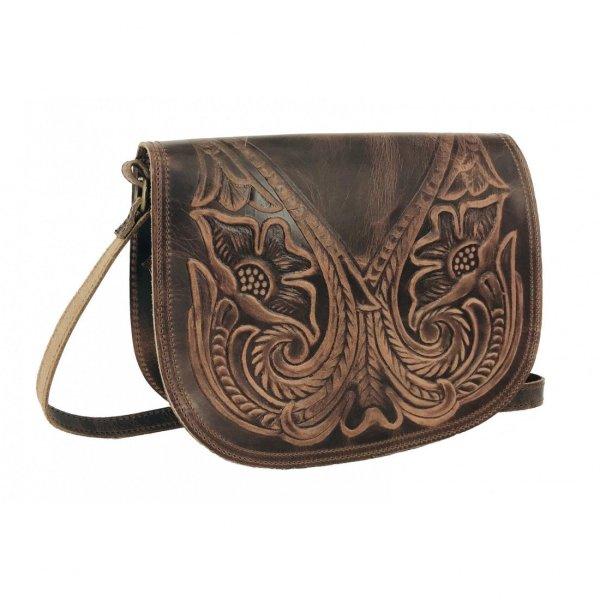 Embossed Leather Shoulder Bag Handmade Pyrography Floral Design Natural Beige Brown Black Cross Body Satchel Vintage Saddle Handbag Purse