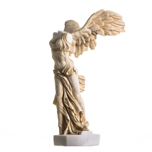 Winged Nike Victory of Samothrace Statue Gold Tone Alabaster Ancient Ruins Louvre Museum Figurine 13.8 Inches