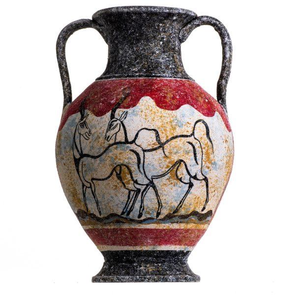 Ancient Greek Minoan Amphora Capra Aegagrus Handmade Ceramic Pottery Vase Large