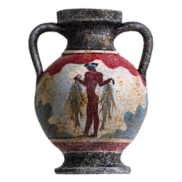 Ancient Greek Minoan Amphora Fisherman Handmade Ceramic Pottery Vase Small
