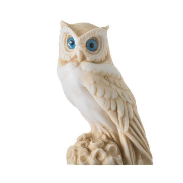 Owl of Athens Wisdom Alabaster Gold Tone sculpture Ancient Greek Handmade 5 Inches