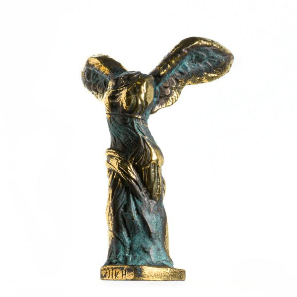 Ancient Ruins Louvre Museum Winged Victory Nike of Samothrace Solid Bronze 5.5 Inches