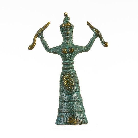 Minoan Snake Serpent Goddess of Crete Ariadne Knossos Handmade (13cm 5.12″)