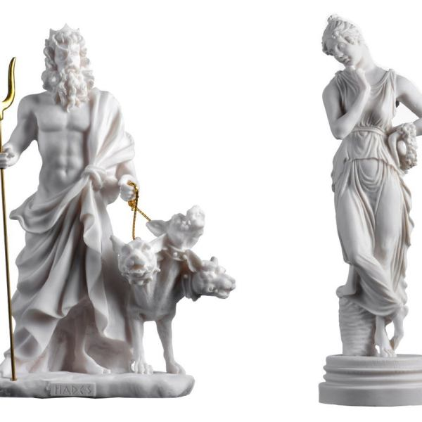 Set of Persephone Goddess and Pluto Hades Lord of the Underworld  Statue