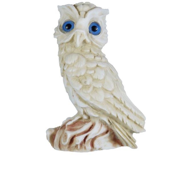 Owl of Athena Symbol of Wisdom Alabaster Gold Tone sculpture Handmade 4.3 Inches