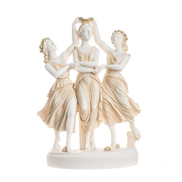 3 Graces Goddesses from Sandro Botticelli's painting Primavera Statue Gold 9.84″