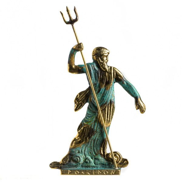 Poseidon Greek God of the Sea With Trident Statue Handmade Solid Bronze 8.4 Inches