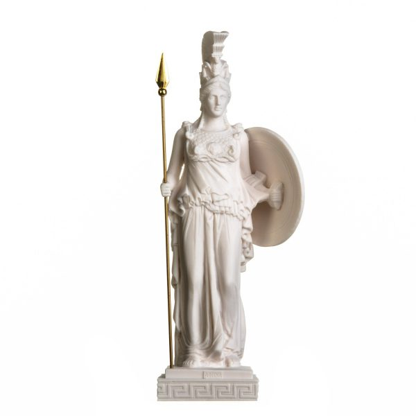 Athena Athene With Shield Goddess of wisdom, handicraft, and war Alabaster Statue 18.5 Inches