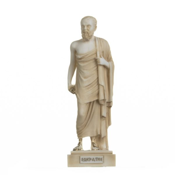 Greek Philosopher Socrates Figurine Alabaster Statue Athens Academy Gold 9.2 Inches