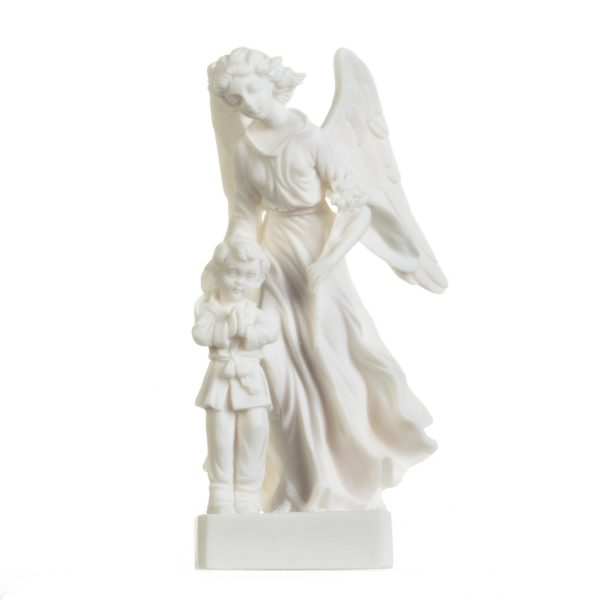 Guardian Angel with Boy Figurine Alabaster Statue Handmade Sculpture 8.4 Inches