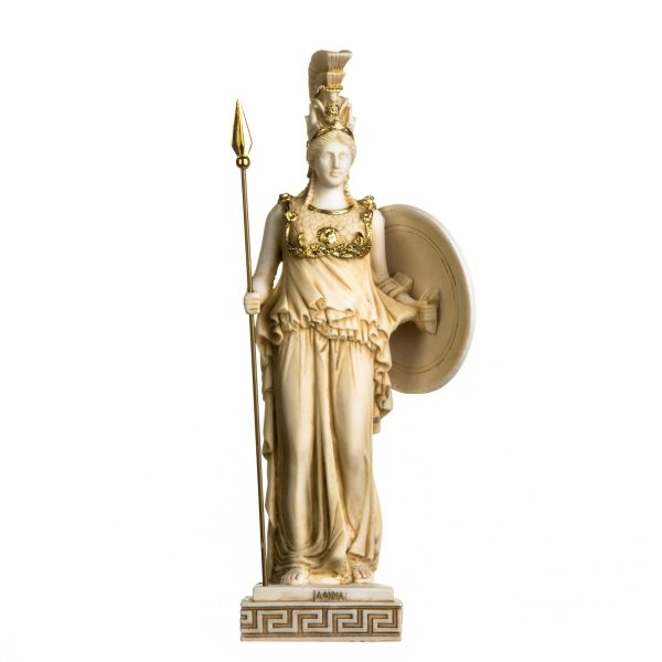 Athena Athene With Shield Goddess of wisdom, handicraft, and war Alabaster Statue Gold Tone 18.5 Inches