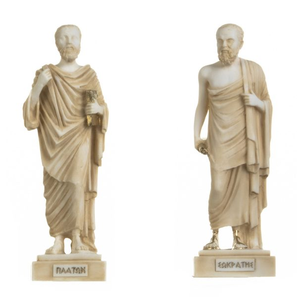 Set of Greek Philosophers Socrates Plato Figurines Alabaster Statues Gold Tone 9.5 Inches
