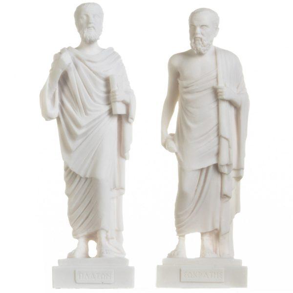 Set of Greek Philosophers Socrates Plato Figurines Alabaster Statues 9.5 Inches
