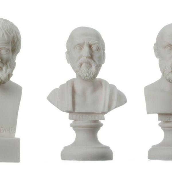 Greek Philosopher Set of Three Aristotle Socrates Hippocrates