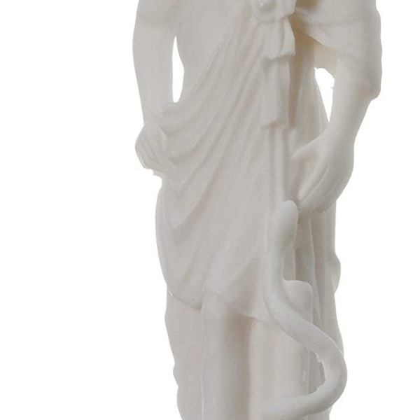 Asclepius Alabaster statue Ancient Greek God of medicine artifact 6.7″