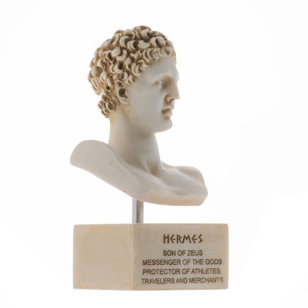 Hermes Bust Alabaster Sculpture Ancient Greek God Conductor of Souls into The Afterlife Marble Base