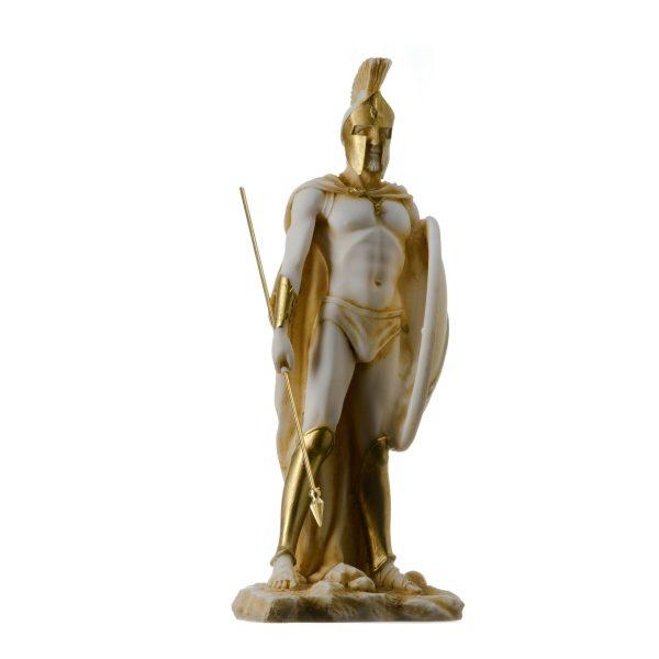 LEONIDAS Statue Greek Spartan King Sculpture Figure Alabaster Gold Tone 9″/ 23cm