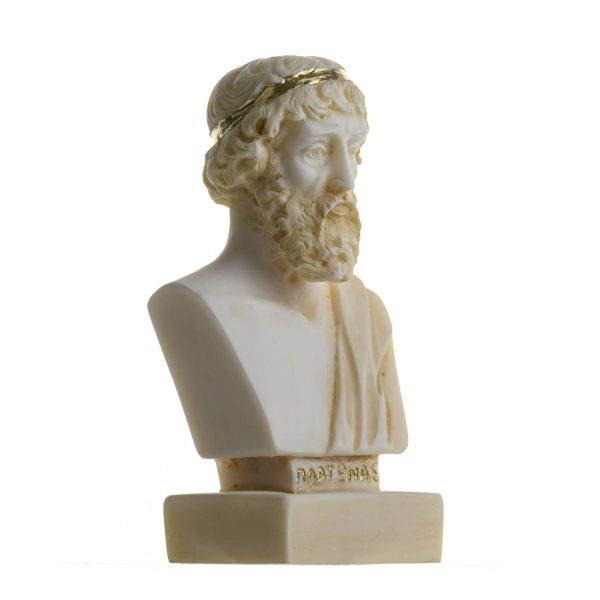 Plato Greek Father Of Philosophy Statue Alabaster Handmade Head Bust Gold Tone