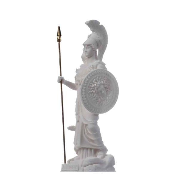 Athena With Owl Medusa Shield Goddess of wisdom, handicraft, and war Alabaster Statue 6.69″