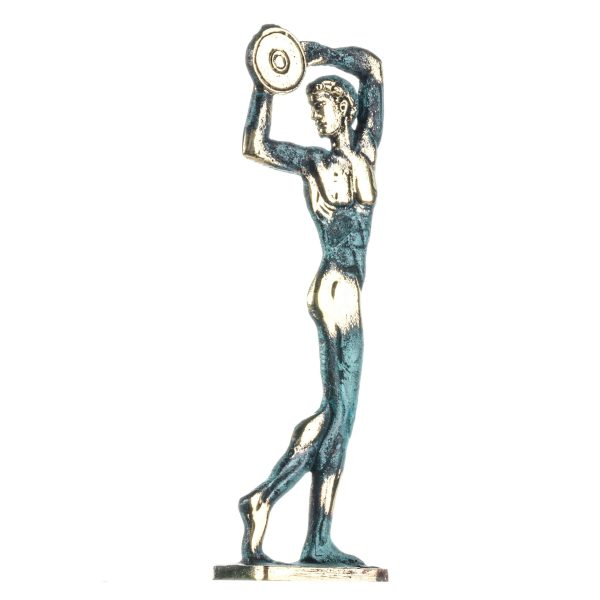 Disc Thrower Discobolus Olympic Games Solid Bronze Greek Statue 6.8 Inches