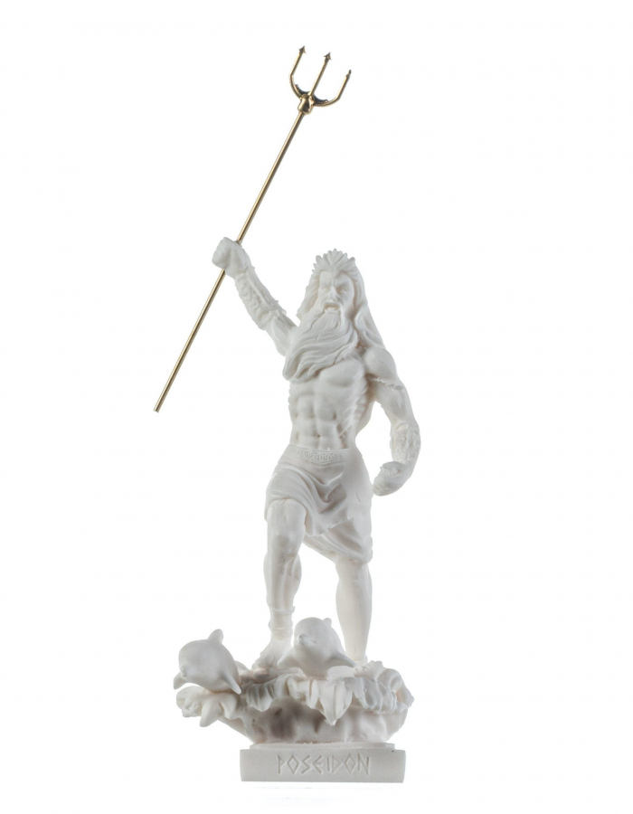 Poseidon Greek God of the Sea With Trident Alabaster Statue Figurine 6.5 Inches