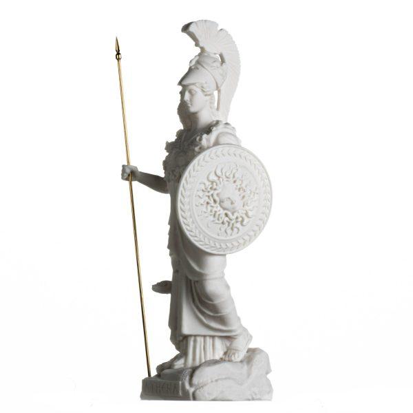 Athena with Owl Medusa Holding Shield Greek Goddess Alabaster Statue 14.56 Inches