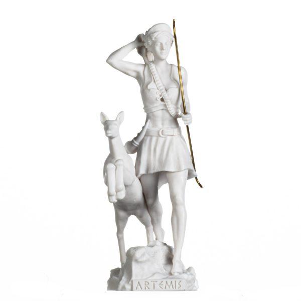 Goddess Artemis Diana Greek Statue Hunting Nature Moon Alabaster 13 inches
