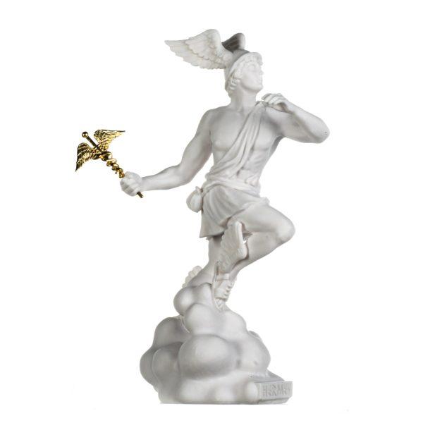 Hermes Mercury God Zeus Son Roman Statue Alabaster 13 Inches