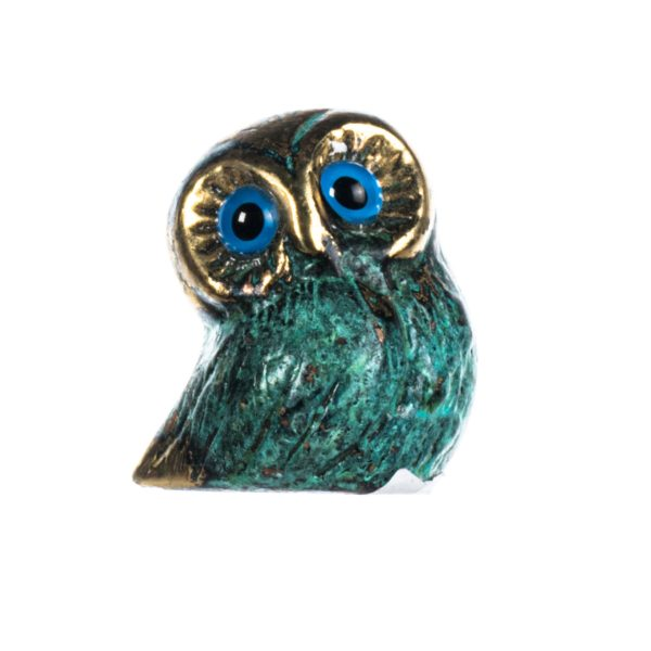 Owl of Athens Wisdom Solid Bronze Handmade Miniature Green-Gold 1.5 Inches
