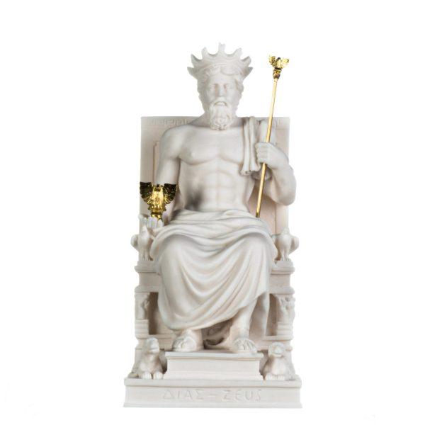 Zeus Jupiter On Throne Greek God of Sky Olympus Alabaster Statue Handmade 10 Inches