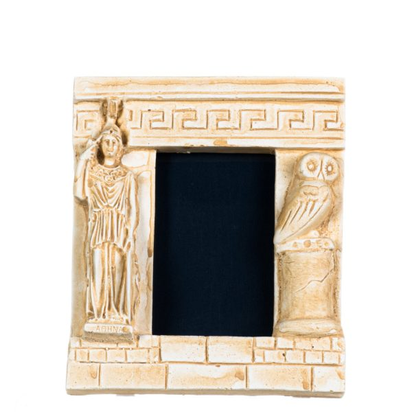Athena With Owl Photo Frame Goddess of Wisdom Decoration Gift Plaster Gold 7.1 Inches
