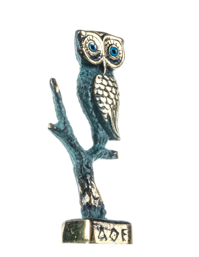 Owl of Athens Wisdom Solid Bronze Ancient Greek Sculpture Handmade Green-Gold 4.2 Inches