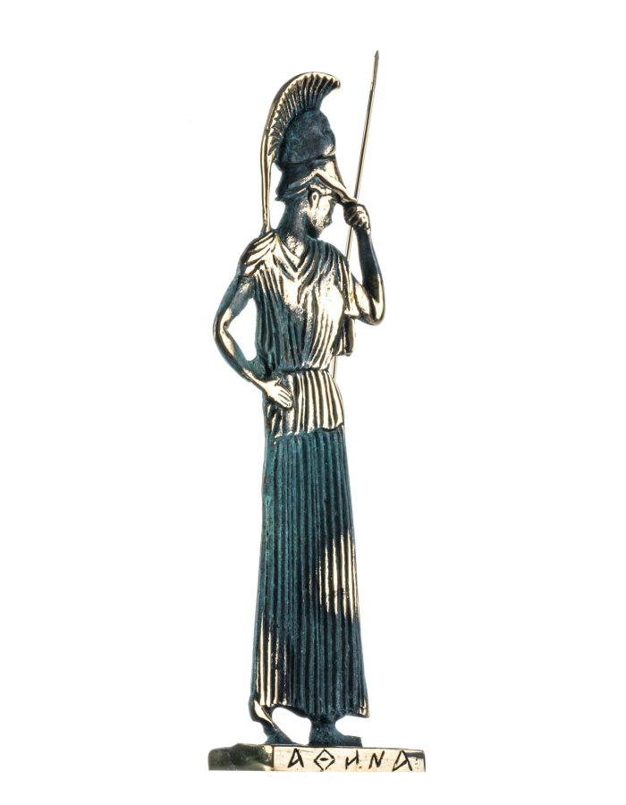 Athena Minerva with Javelin Goddess of Wisdom Solid Bronze Handmade Statue 10.8 Inches