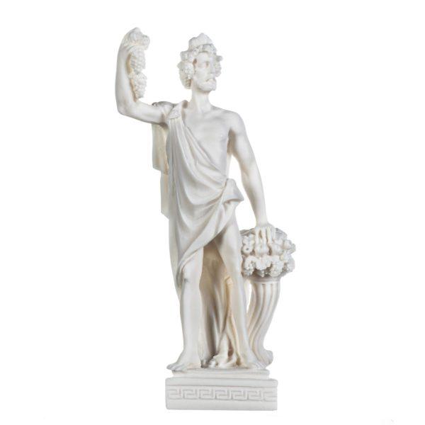 Dionysus Statue Bacchus Greek God of Wine Grape-Harvest Alabaster Sculpture 9.5 Inches