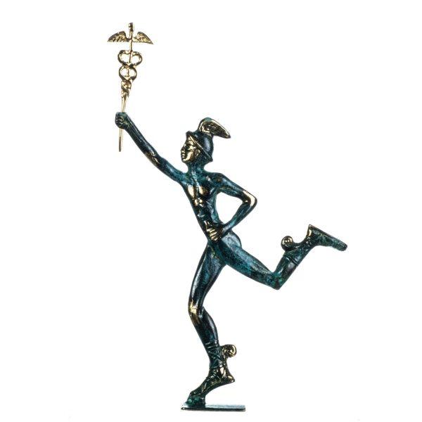Hermes Mercury Greek God Zeus Son Solid Bronze Statue Handmade 11.8 Inches
