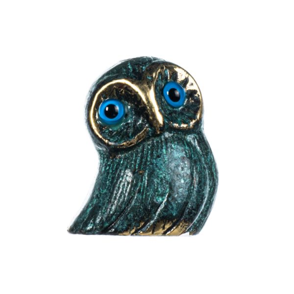 Owl of Athens Wisdom Solid Bronze Handmade Miniature Green-Gold 2 Inches
